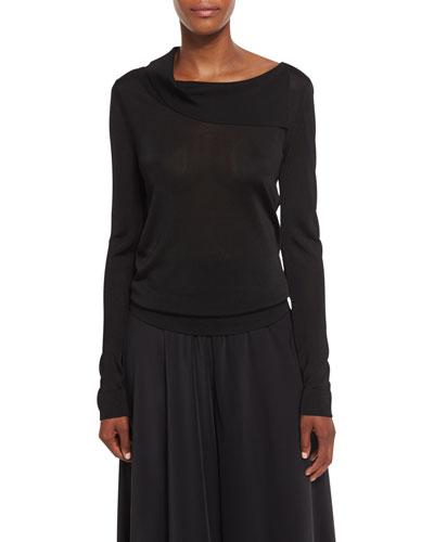 Bennett Fold-Over Collar Top, Black