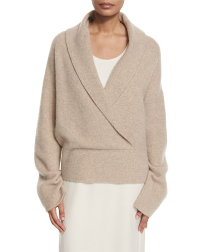 Fontaine Crossover Sweater, Light Taupe Melange