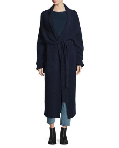 Meryl Shawl-Collar Belted Long Cardigan, Navy