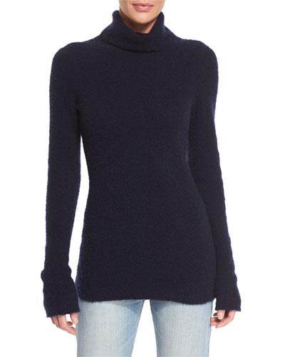 Rubida Long-Sleeve Funnel-Neck Sweater, Navy