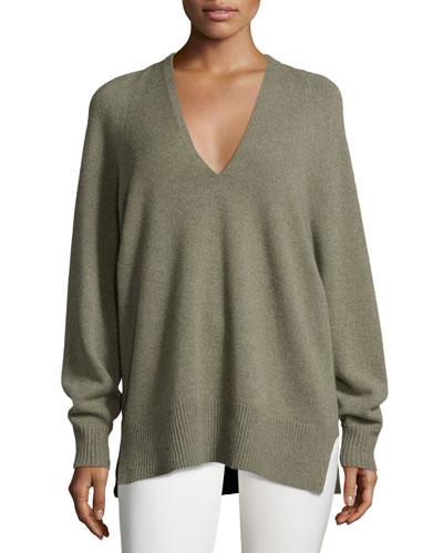 Jabbie V-Neck Tunic Sweater, Dark Pear