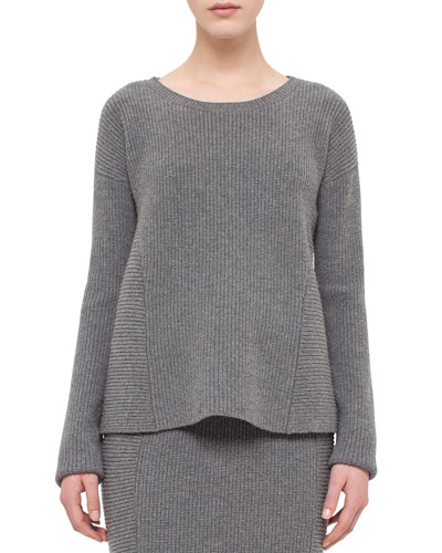 Ribbed Trapeze Long-Sleeve Sweater, Cliff