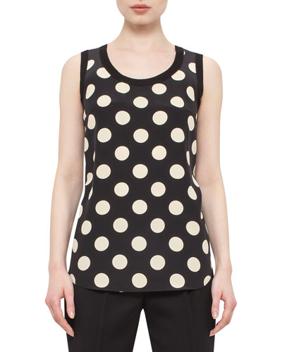 Polka-Dot Silk-Front Tank, Black