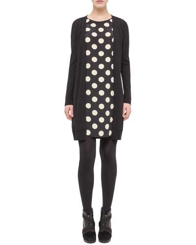 Polka-Dot Faux-Cardigan Dress, Black