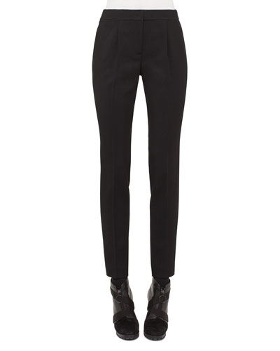 Pleated-Front Tapered Pants, Black