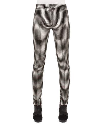 Mara Houndstooth Pants, Black/Cream