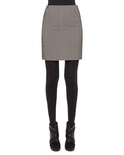 Houndstooth Pencil Mini Skirt, Black/Cream