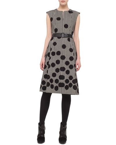 Belted Dotted Houndstooth Sleeveless Dress, Black/Cream