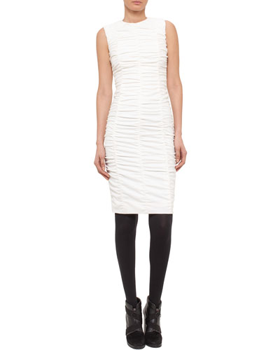 Ruched-Front Sleeveless Dress, Cream