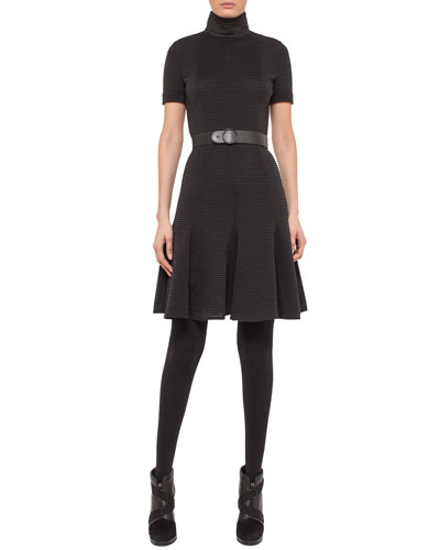 Belted Ribbed Short-Sleeve Turtleneck Dress, Black