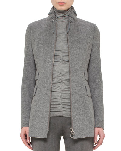 Drawstring-Collar Zip-Front Jacket, Cliff