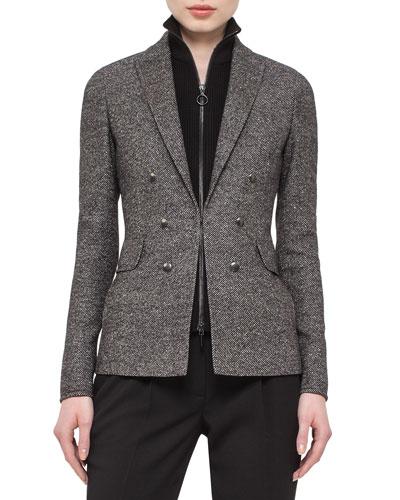 Tweed Hook-Front Jacket, Black/Cream