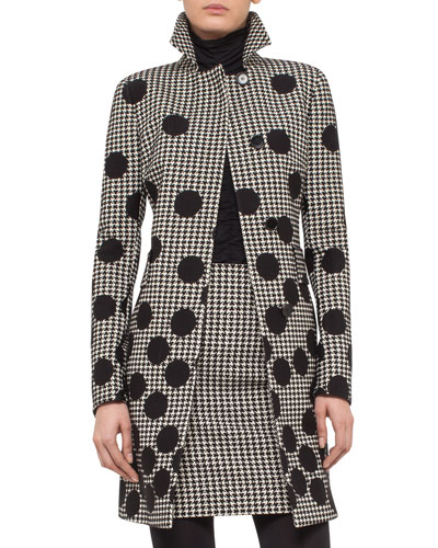 Dotted Houndstooth A-Line Coat, Black/Cream