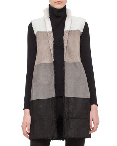 Colorblock Reversible Shearling Fur Vest, Cream/Cliff/Coal/Black