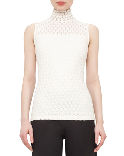 Embroidered-Front Mock-Neck Sleeveless Top, Cream