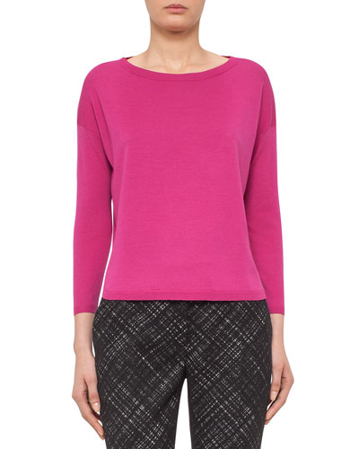 Bateau-Neck Bracelet-Sleeve Sweater, Pink