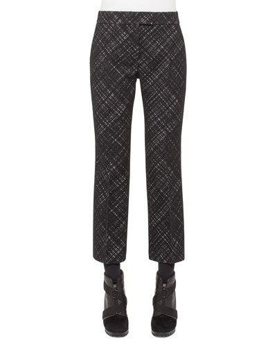 Madia Jacquard Flared Cropped Pants, Black
