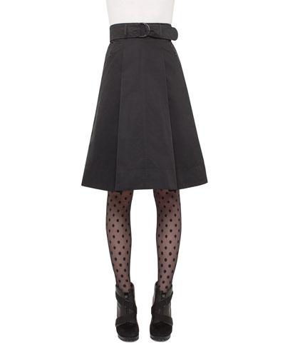Iridescent High-Waist Belted A-Line Skirt, Black