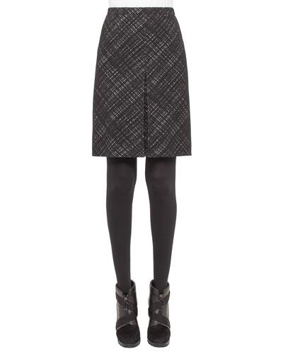 Crosshatch Jacquard Pencil Skirt, Black