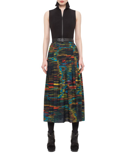 Printed-Skirt Sleeveless Midi Dress, Northern Lights