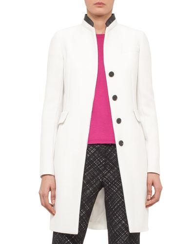 Faux-Leather Collar Long Coat, Cream/Black