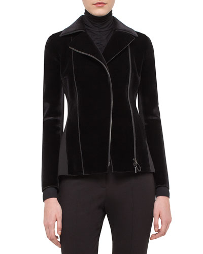 Velvet Jersey-Panel Moto Jacket, Black