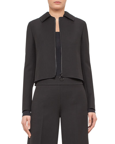 Pleated-Black Cropped Jacket, Black