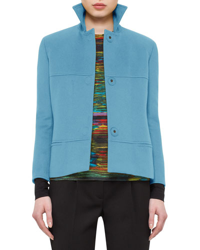 Seamed Spread-Collar Jacket, Turquoise