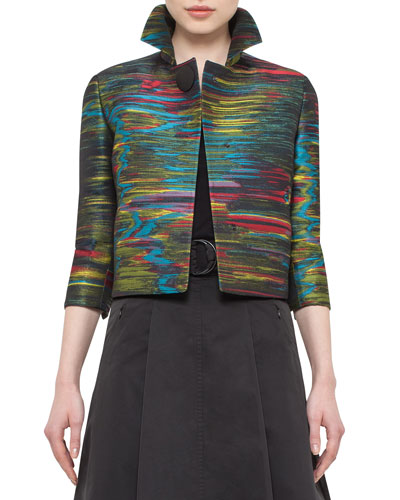 Printed Bracelet-Sleeve Cropped Jacket, Northern Lights