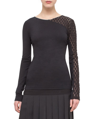 Asymmetric Dot-Lace Long-Sleeve Tee, Black