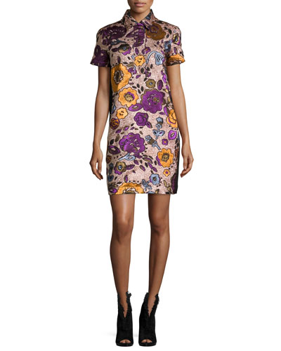 Floral Jacquard Mini Shirtdress, Copper Rose Metallic