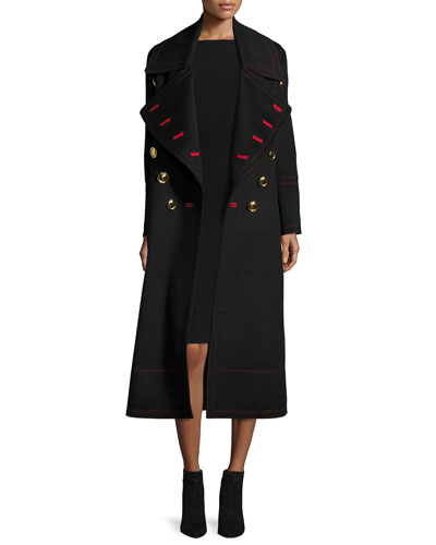 Wool-Cashmere Military Coat, Black