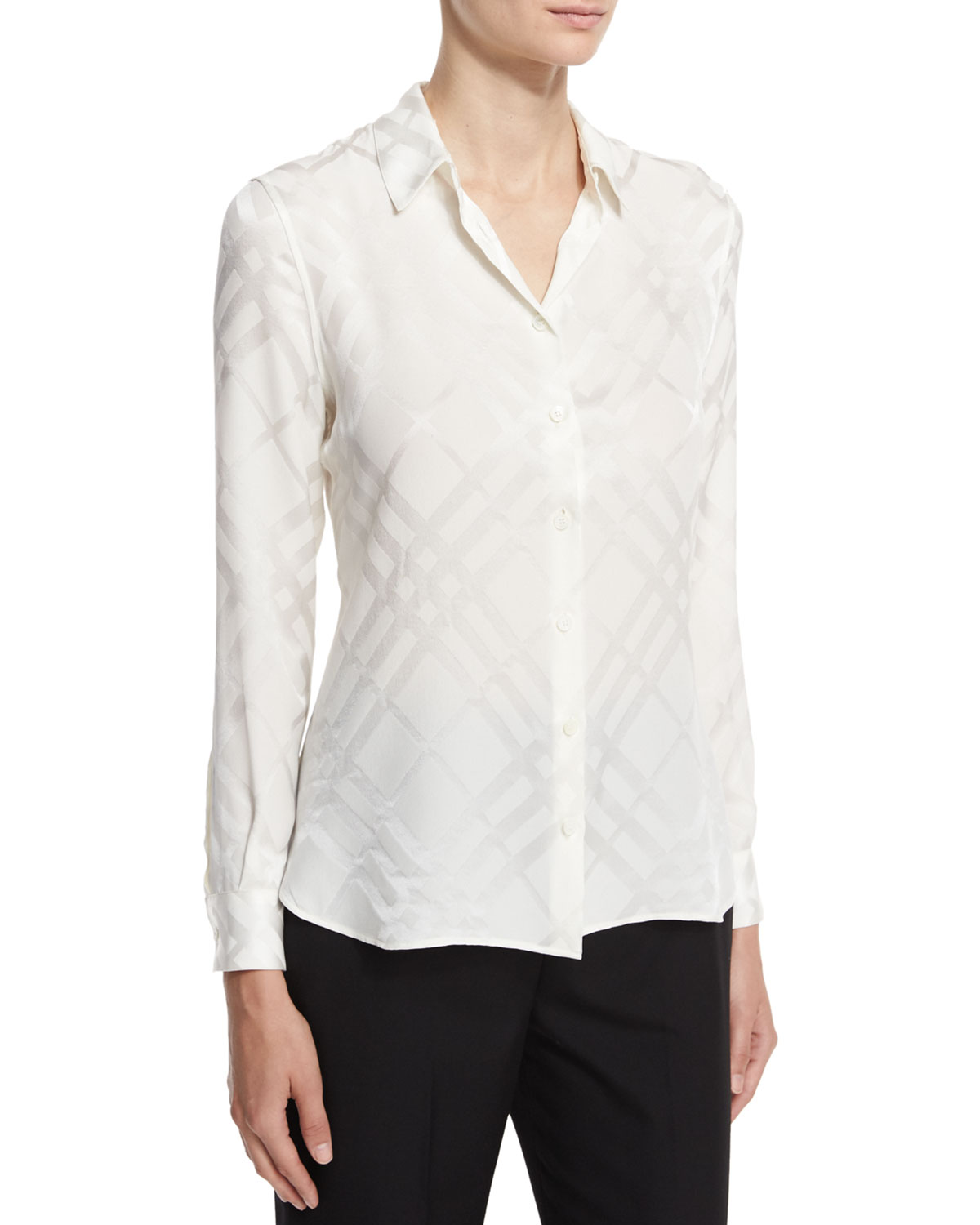 Tonal Check Silk Shirt, White