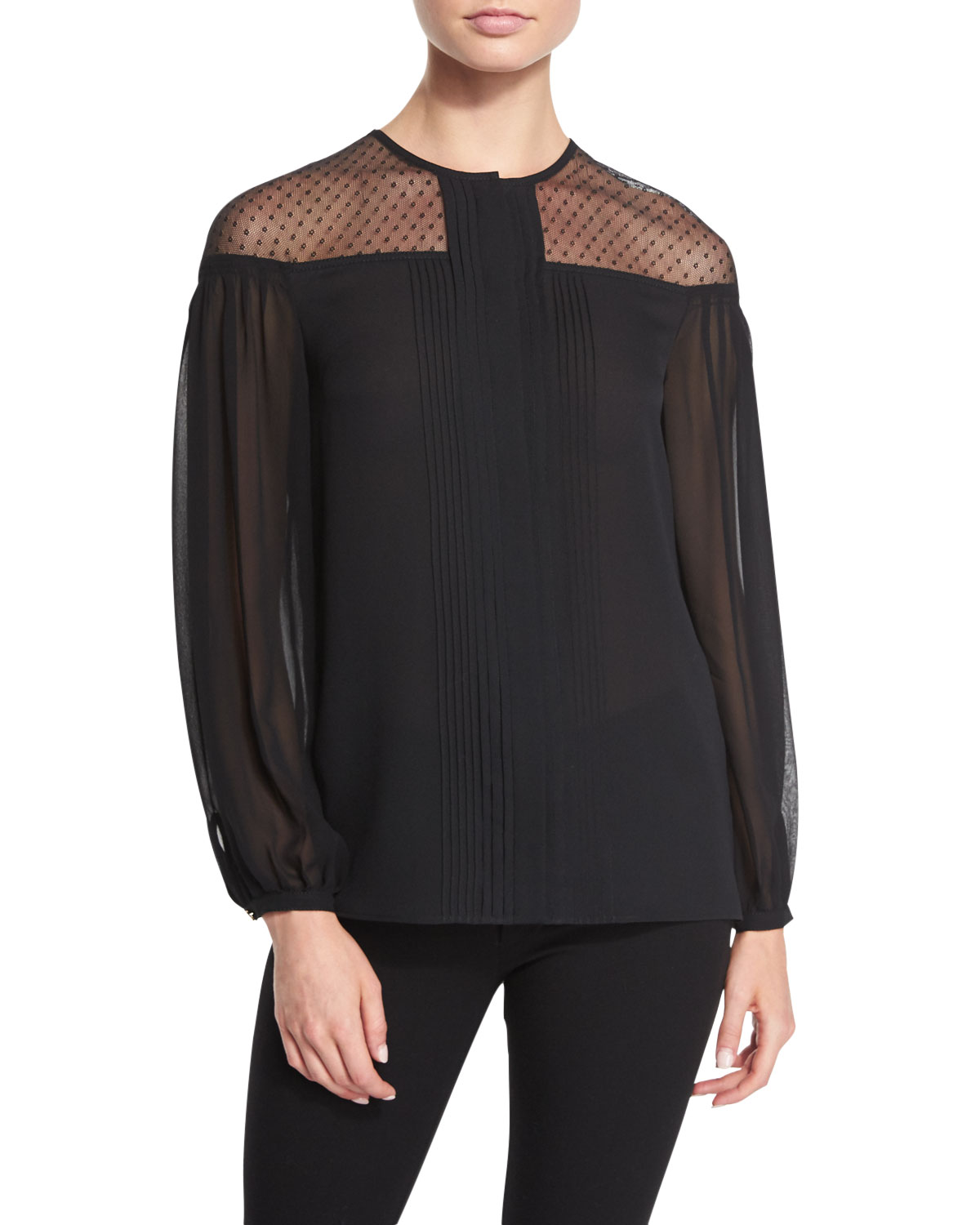 Sheer-Yoke Pleated Blouse, Black