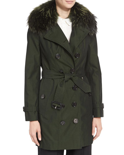 The Sandringham - Mid-Length Slim Fit Heritage Trenchcoat w/Fur Collar