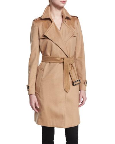 Cashmere Belted Wrap Trenchcoat, Camel
