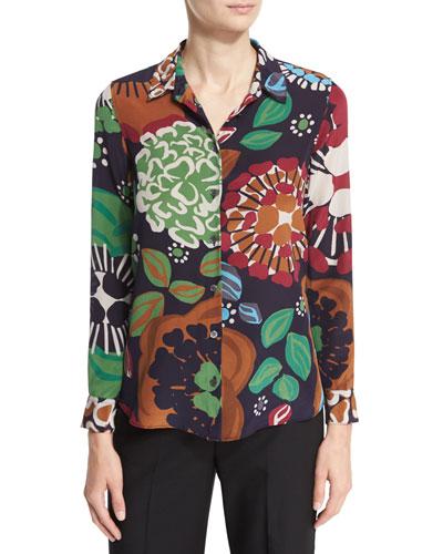 Floral-Print Silk Shirt, Deep Navy