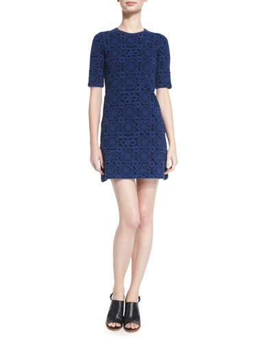 Jacquard Half-Sleeve Sheath Dress, Navy