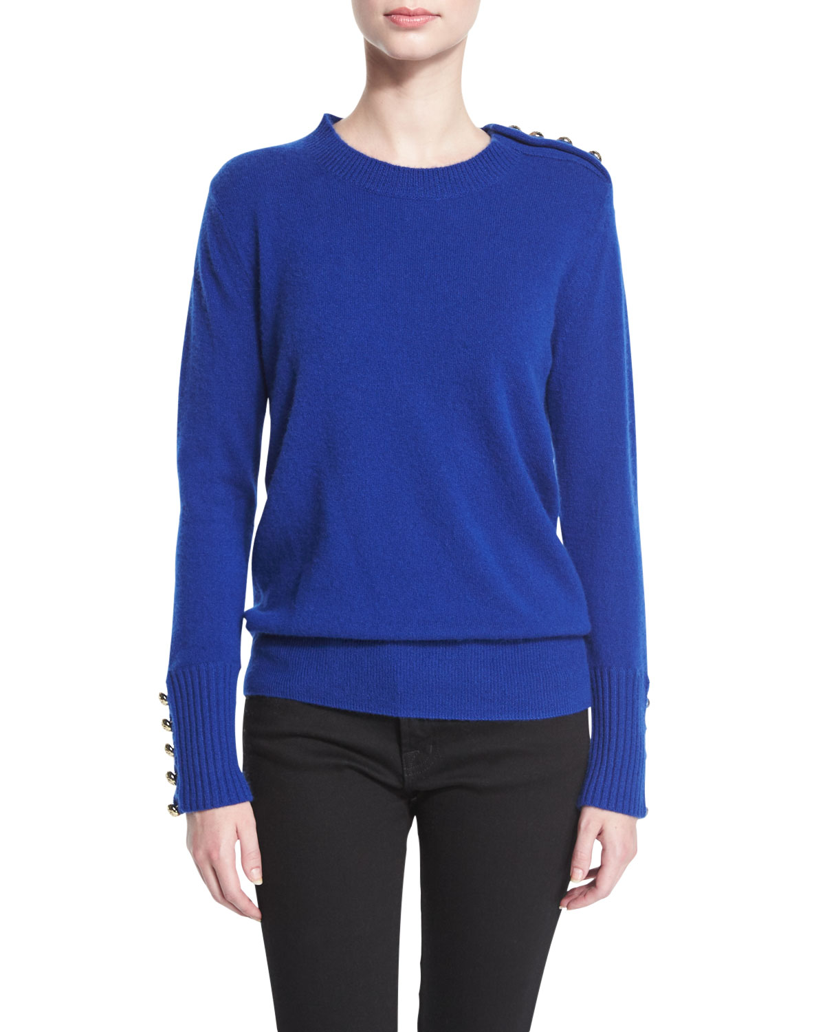 Button-Trim Crewneck Sweater, Bright Navy