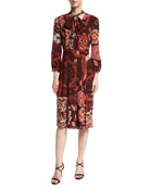 Floral-Print Tie-Neck Silk Dress