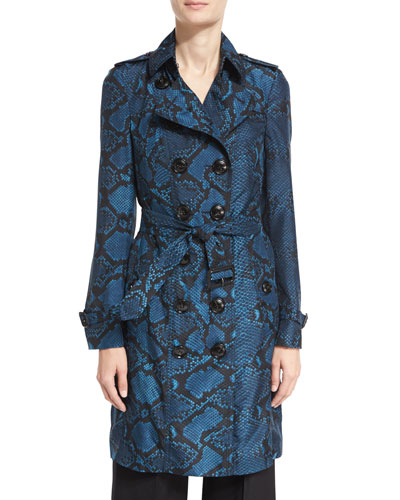 The Sandringham - Python-Print Silk Trenchcoat, Mineral Blue