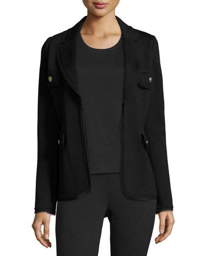 Frayed-Trim Knit Jacket, Black