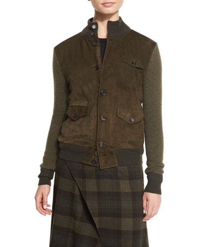 Suede-Front Sweater Jacket, Olive