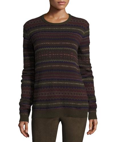 Loden Fair Isle Crewneck Cashmere Sweater