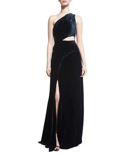 Tess Sleeveless Cutout Evening Gown, Midnight