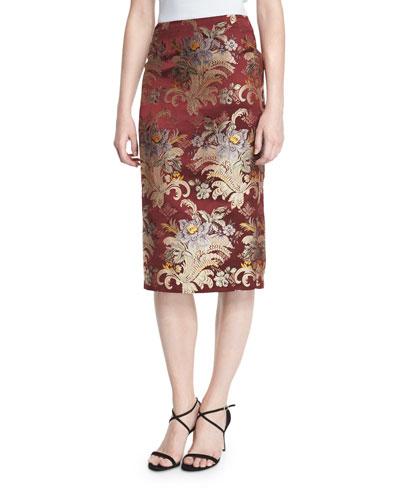 Cynthia Baroque Pencil Skirt, Burgundy/Multi