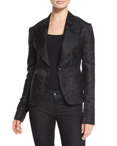 Ambrose Brocade One-Button Jacket, Black