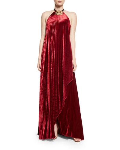 Pamela Fluid Velvet Plisse Halter Gown, Crimson