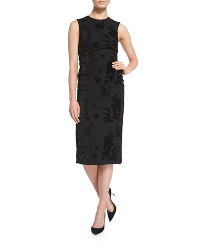 Sleeveless Brocade Sheath Dress, Black