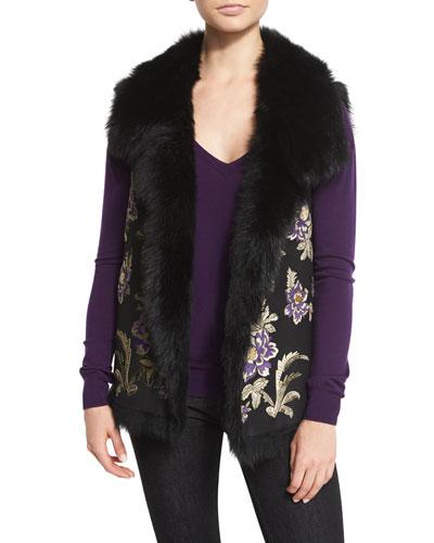 Ashton Floral Shearling Fur Vest, Black